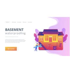 Basement services concept landing page vector