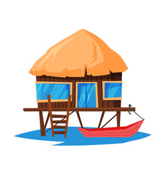 beach bungalow on water tropical sea summer vector image