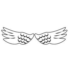 bird wings isolated cartoon symbol in black and vector image