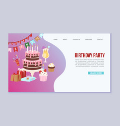 birthday party anniversary landing page vector image