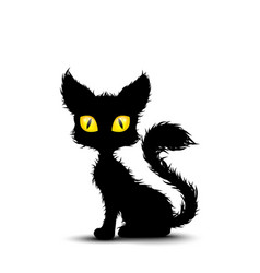 black cat sitting isolated background vector image