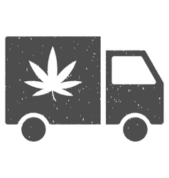 Cannabis Delivery Van Icon Rubber Stamp vector image