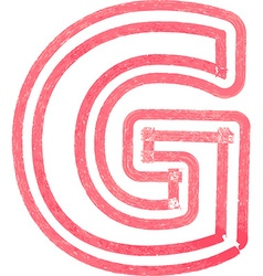 Capital letter G drawing with Red Marker vector