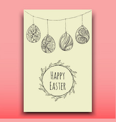 card with hanging easter eggs handdrawn vector image