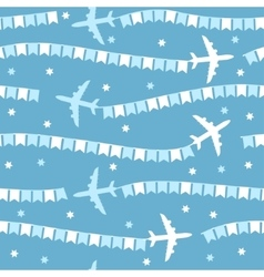 Cartoon airplane with flags seamless pattern vector image