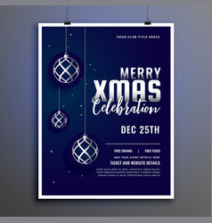 celebration flyer design for merry christmas vector image