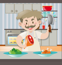 chef with knife and pork leg in kitchen vector image