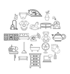 children room icons set outline style vector image
