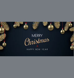 Christmas and new year poster with golden vector