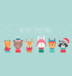 Christmas card with cute animals hand drawn vector