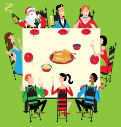 Christmas dinner vector image