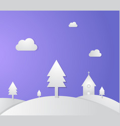 Church on hills and pine with paper style vector