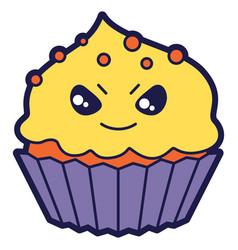 cupcake in cartoon style happy vector image