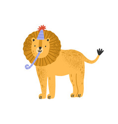 Cute childish lion in cone hat with festive pipe vector