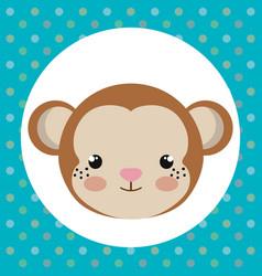 cute monkey head tender character vector image