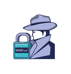 cyber security agent and padlock with password vector image