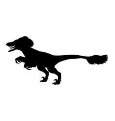 deinonychus silhouette dinosaur jurassic vector image