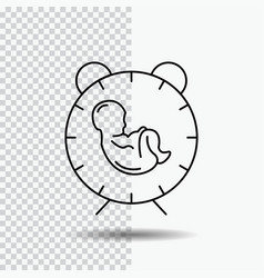 Delivery time baby birth child line icon on vector
