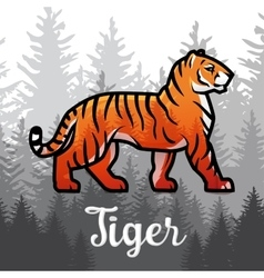 Double exposure Bengal Tiger in forest poster vector