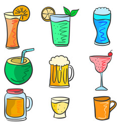 Drink set various doodles vector