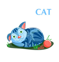 educational flashcard kitten resting after a game vector image