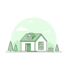 Farm house - modern thin line design style vector