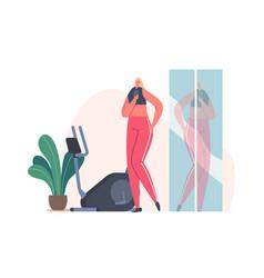 female character in sportswear taking selfie vector image