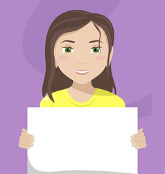 Flat a white woman with a placard in her hands vector