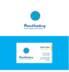 flat globe logo and visiting card template vector image