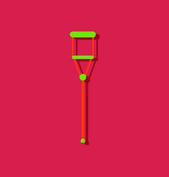 Flat icon design collection crutch in sticker vector
