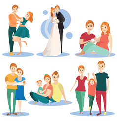 flat icons set happy loving couples vector image