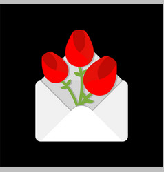 flowers in envelope love letter valentines day vector image