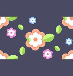 flowers with green leaves spring season floral vector image