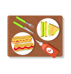 food placed on wooden board vector image