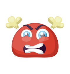 Furious red round emoji face on a white background vector