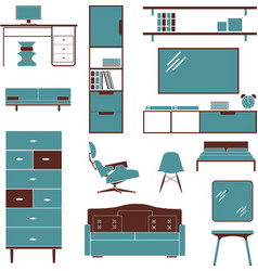 furniture sofa chair bed wardrobe armchair vector image
