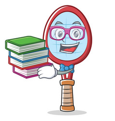 Geek tennis racket character cartoon vector