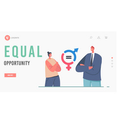 Gender balance and equality landing page template vector