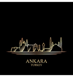 Gold silhouette of Ankara on black background vector