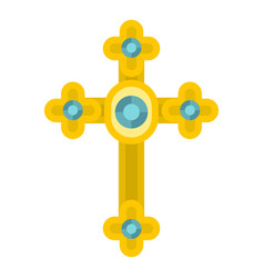 golden cross with diamonds icon isolated vector image