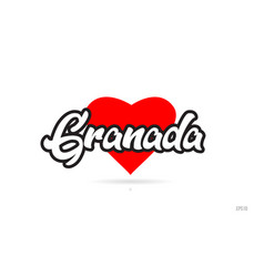 Granada city design typography with red heart vector