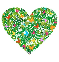 Green floral spring and summer love vector image vector image
