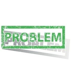 Green outlined PROBLEM stamp vector image