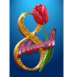 happy womens day march 8 greeting card text with vector image