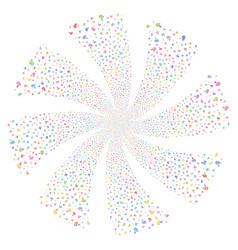 Hearing fireworks swirl rotation vector