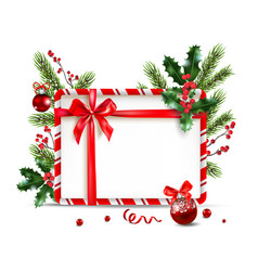 holiday nature frame and ball vector image