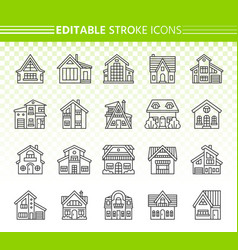House exterior simple black line icons set vector