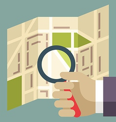 Human hands holding Magnifier and searching street vector