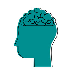 human head profile sideview with brain inside icon vector image