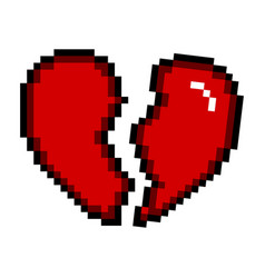 isolated pixelated broken heart icon vector image